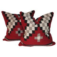Vintage Navajo Indian Weaving Pillows, Pair