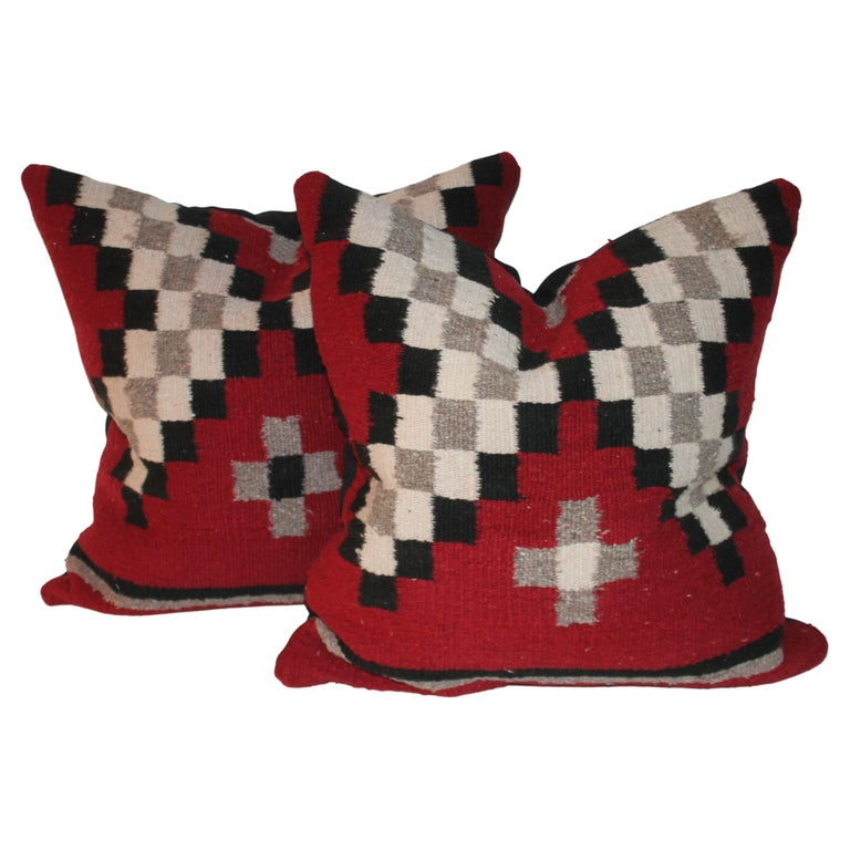 Vintage Navajo Indian Weaving Pillows, Pair For Sale
