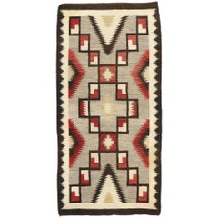 Vintage Navajo Kilim Rug with Two Grey Hills Style