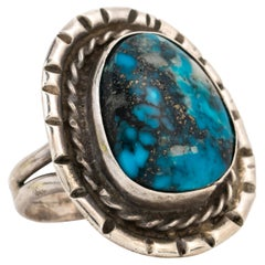 Vintage Navajo Native American Silver and Apache Blue Turquoise Ring