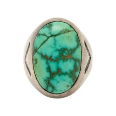 Vintage Navajo Native American Silver and Royston Turquoise Gypsy Ring