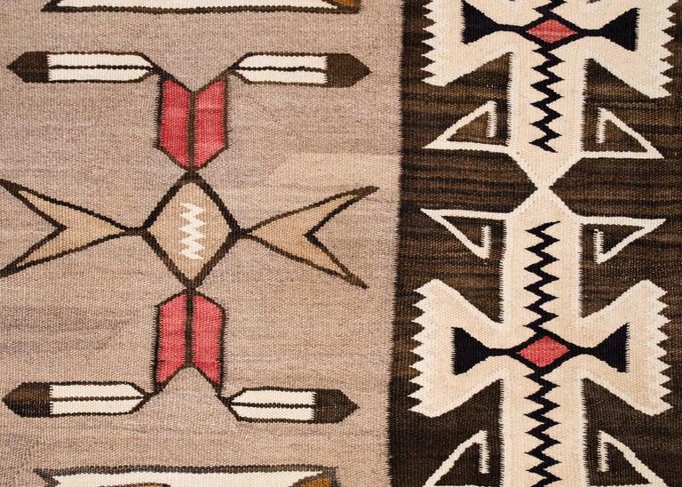 American Vintage Navajo Pictorial Area Rug, Teec Nos Pos Trading Post For Sale