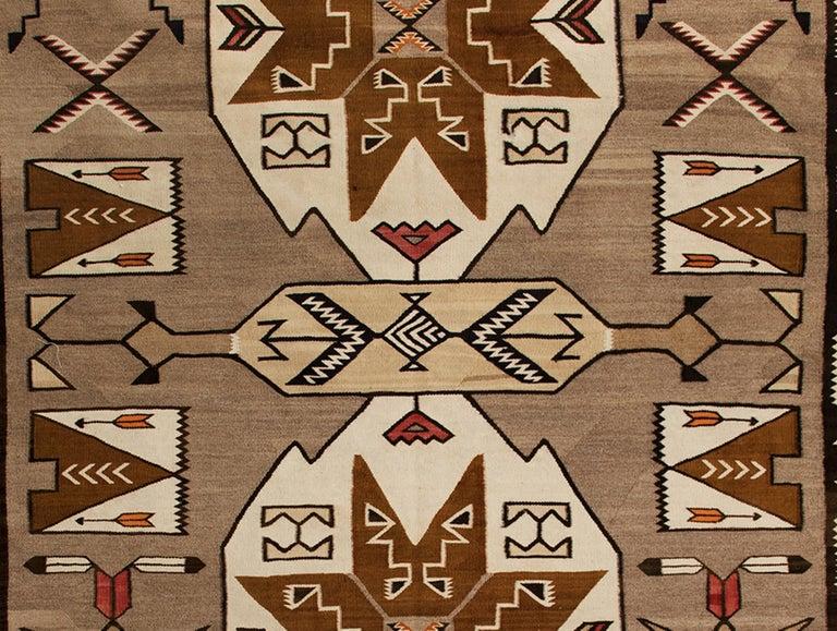 20th Century Vintage Navajo Pictorial Area Rug, Teec Nos Pos Trading Post For Sale