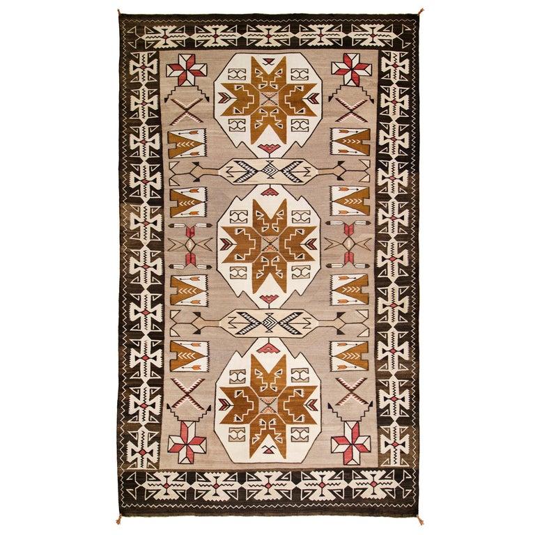 Vintage Navajo Pictorial Area Rug, Teec Nos Pos Trading Post For Sale