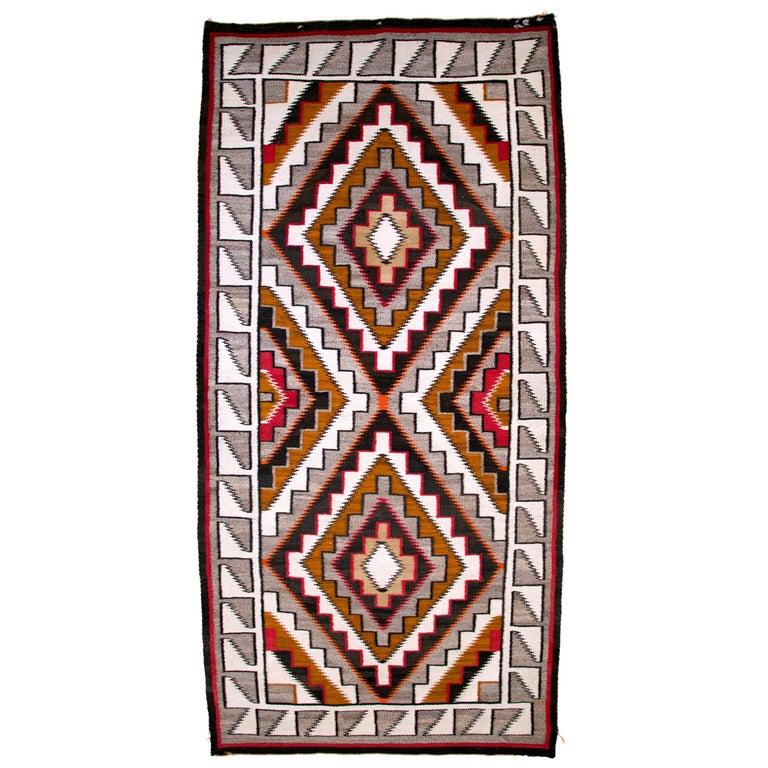 Vintage Navajo Rug, circa 1910, Teec Nos Pos Trading Post Southwestern Textile For Sale