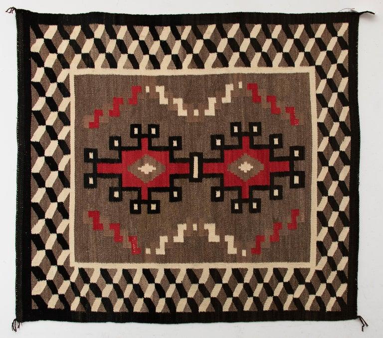 Wool Vintage Navajo Rug, circa 1940 'Antique Southwestern Native American Textile' For Sale