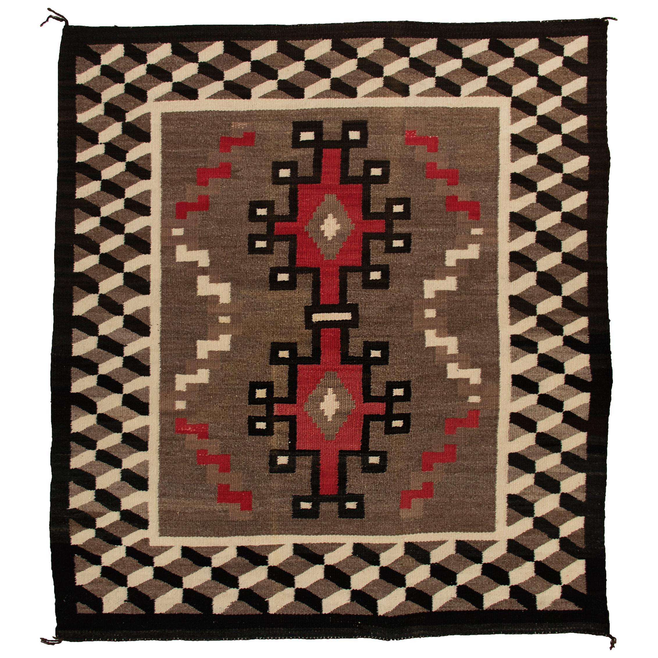 Vintage Navajo Rug, circa 1940, Southwestern Textile, Brown, Black, Red, Ivory