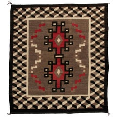Vintage Navajo Rug, circa 1940 'Antique Southwestern Native American Textile'