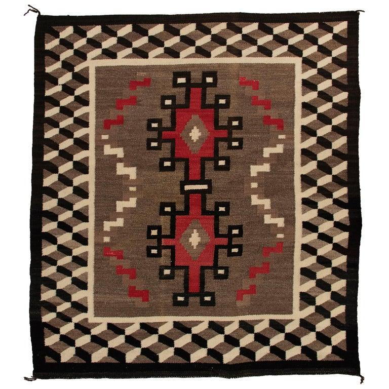 Vintage Navajo Rug, circa 1940 'Antique Southwestern Native American Textile' For Sale