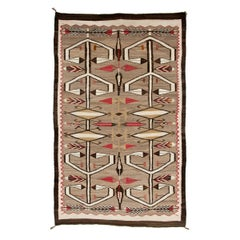 Vintage Navajo Rug Crystal Trading Post circa 1930 Pictorial Feathers and Arrows
