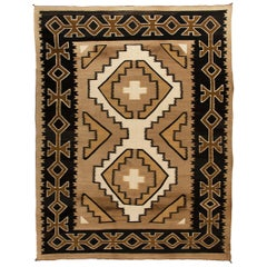 Vintage Navajo Rug, Crystal Trading Post, circa 1930s-1950s, Brown, Camel, Ivory