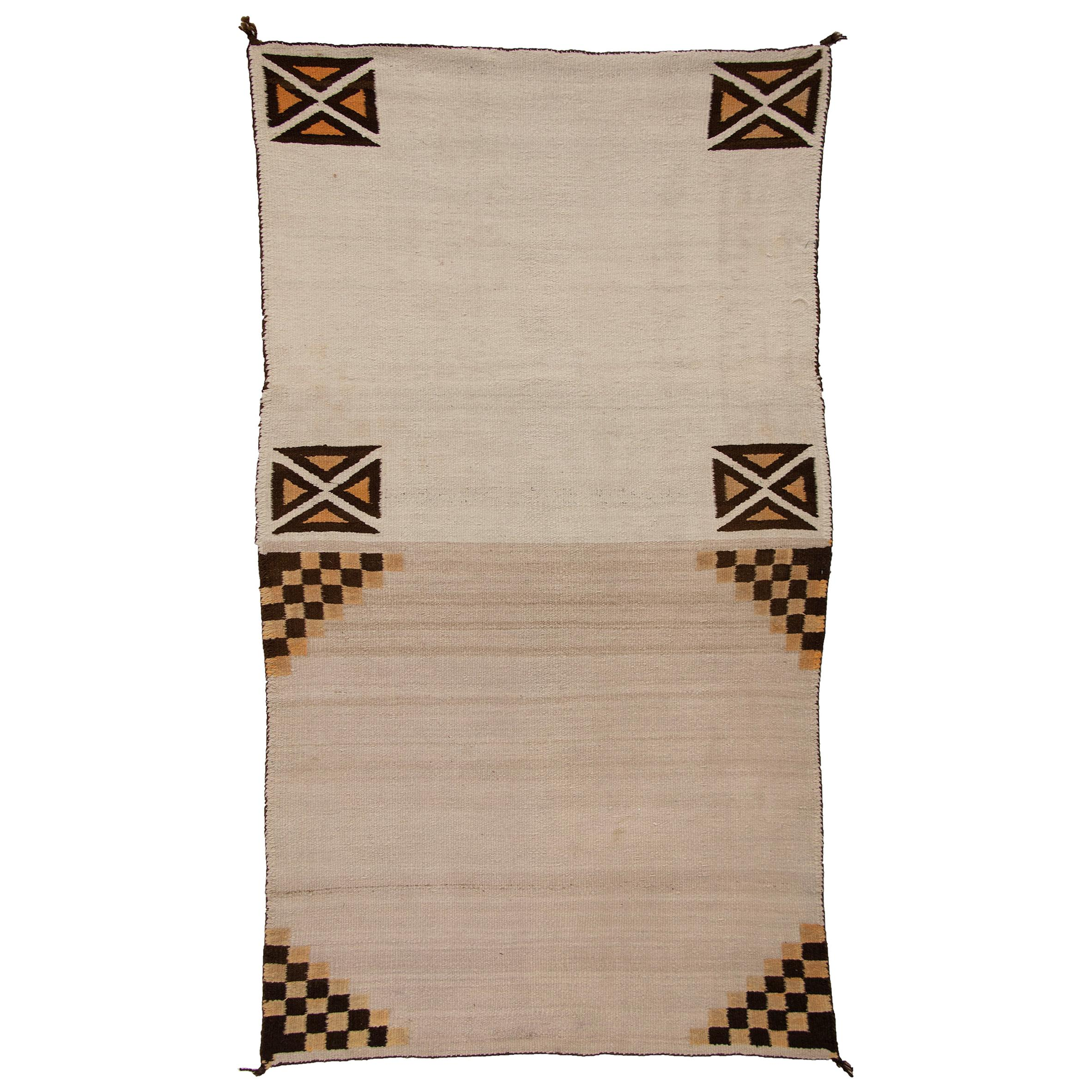 Vintage Navajo Rug Double Saddle Blanket, circa 1925, Ivory/Cream, Black, Orange