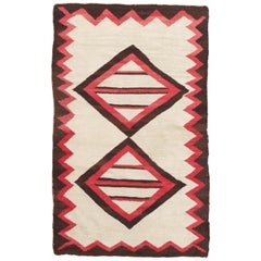 Vintage Navajo Rug, Folk Rug, Handmade Wool, Beige, Coral, Brown, Neutral