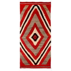 Vintage Navajo Rug, Ganado Trading Post, circa 1900-1910, Red Gray Brown Ivory