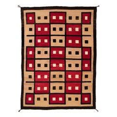 Vintage Navajo Rug, Ganado Trading Post, circa 1930, Red, Camel, Brown & Ivory