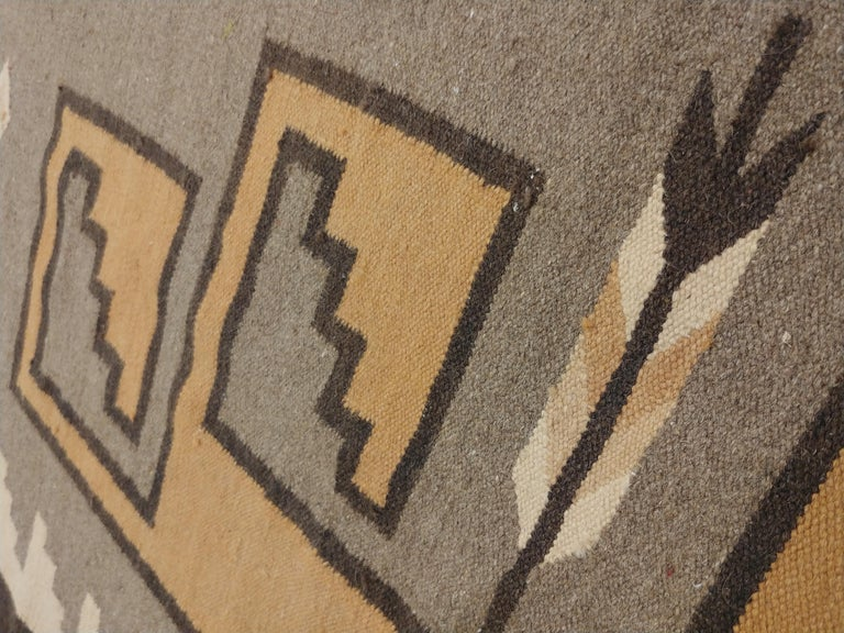 Vintage Navajo Rug, Handmade Wool Oriental Rug, Caramel, Beige, Taupe and Brown In Excellent Condition For Sale In New York, NY