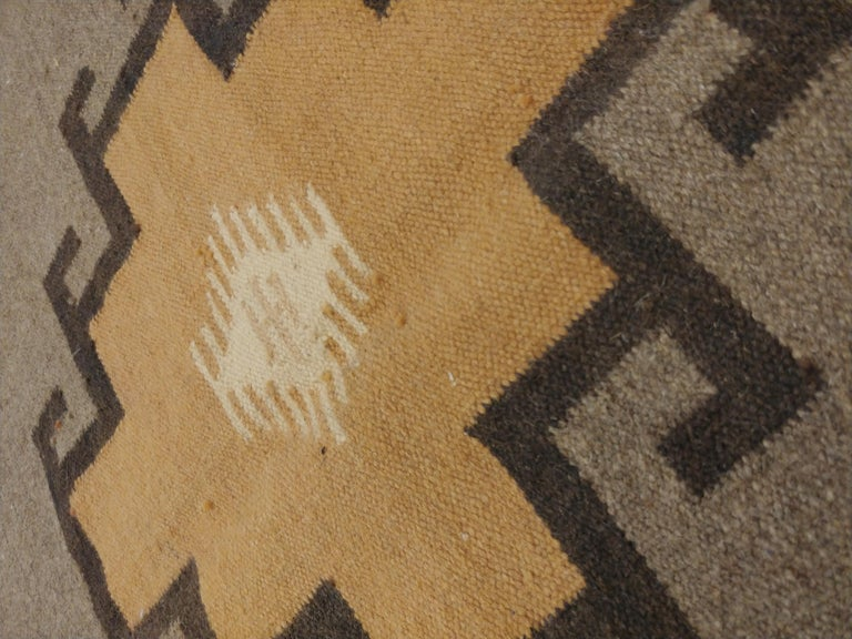 20th Century Vintage Navajo Rug, Handmade Wool Oriental Rug, Caramel, Beige, Taupe and Brown For Sale