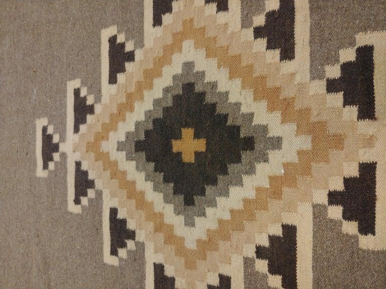 Vintage Navajo Rug, Handmade Wool Oriental Rug, Caramel, Beige, Taupe and Brown For Sale 1