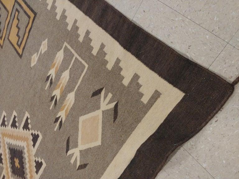 Vintage Navajo Rug, Handmade Wool Oriental Rug, Caramel, Beige, Taupe and Brown For Sale 2