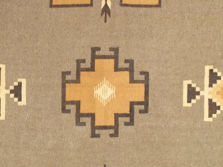 Vintage Navajo Rug, Handmade Wool Oriental Rug, Caramel, Beige, Taupe and Brown For Sale 3