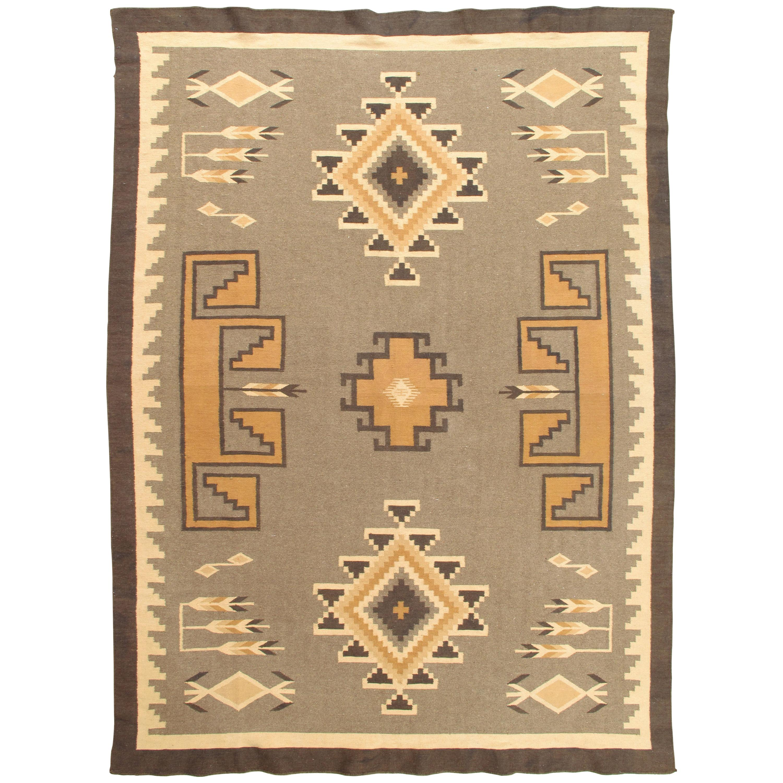 Vintage Navajo Rug, Handmade Wool Oriental Rug, Caramel, Beige, Taupe and Brown