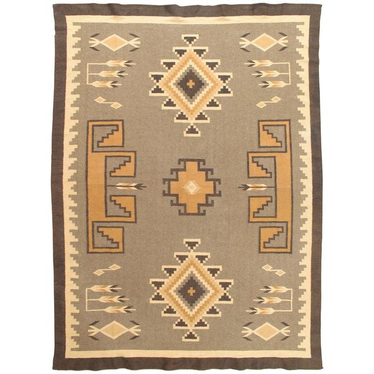 Vintage Navajo Rug, Handmade Wool Oriental Rug, Caramel, Beige, Taupe and Brown For Sale
