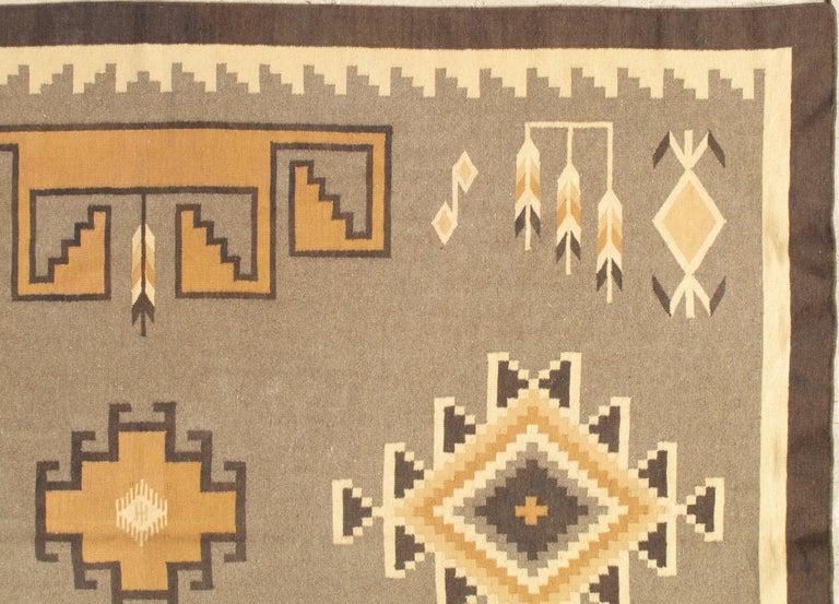 North American Vintage Navajo Rug, Handmade Wool Oriental Rug, Caramel, Beige, Taupe and Brown For Sale