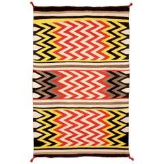 Vintage Navajo Rug, Lightning Pattern, circa 1935, Yellow, Red, Black, & White