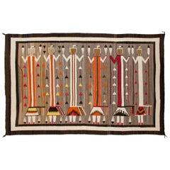 Vintage Navajo Rug, Pictorial Yei Weaving circa 1920s-1930s Southwestern Textile