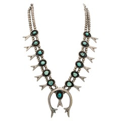 Vintage Navajo Silver and Turquoise Native American Squash Blossom Necklace