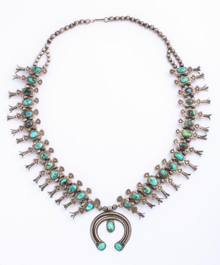 Vintage Navajo Silver and Turquoise Squash Blossom Necklace by Eskie Tsosie In Excellent Condition For Sale In Stamford, CT