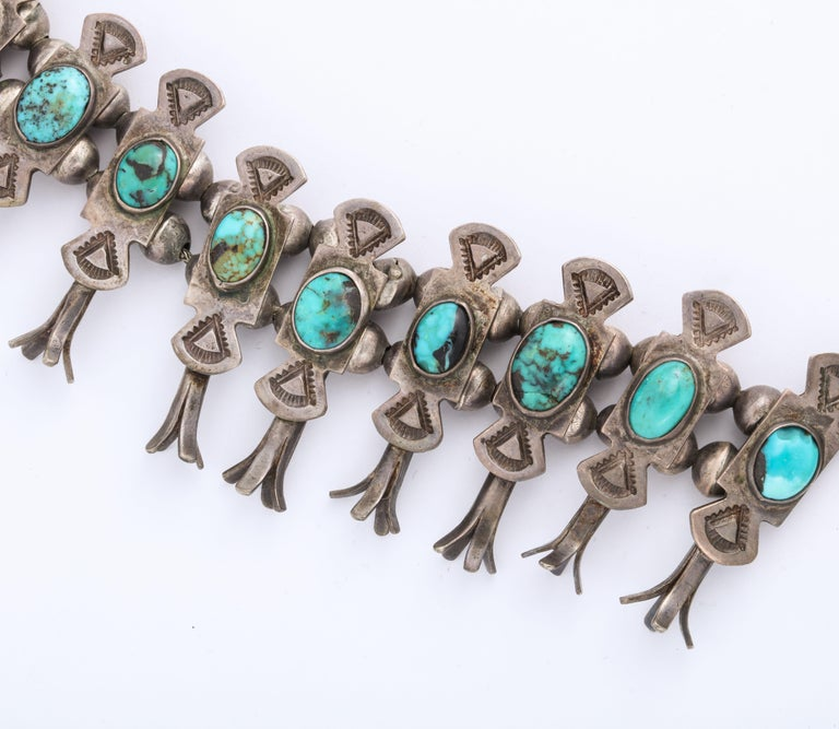 Women's or Men's Vintage Navajo Silver and Turquoise Squash Blossom Necklace by Eskie Tsosie For Sale