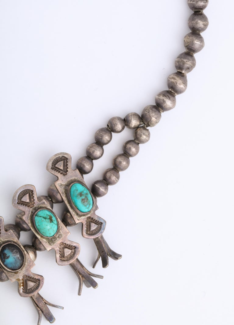 Vintage Navajo Silver and Turquoise Squash Blossom Necklace by Eskie Tsosie For Sale 1