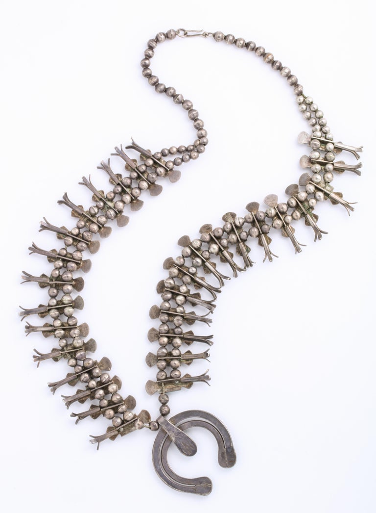Vintage Navajo Silver and Turquoise Squash Blossom Necklace by Eskie Tsosie For Sale 3