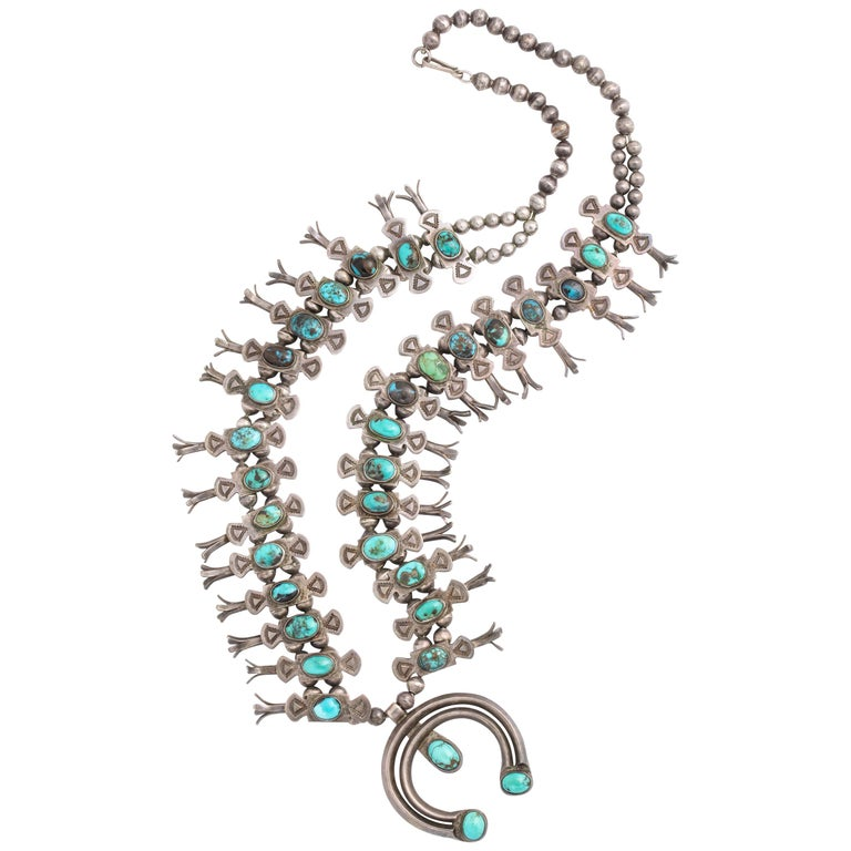 Vintage Navajo Silver and Turquoise Squash Blossom Necklace by Eskie Tsosie For Sale