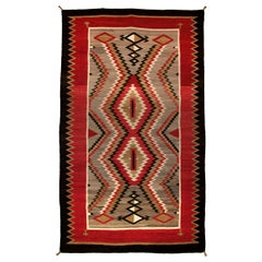 Vintage Navajo Trading Post Rug, circa 1930, Gray, Brown, Red, White and Black