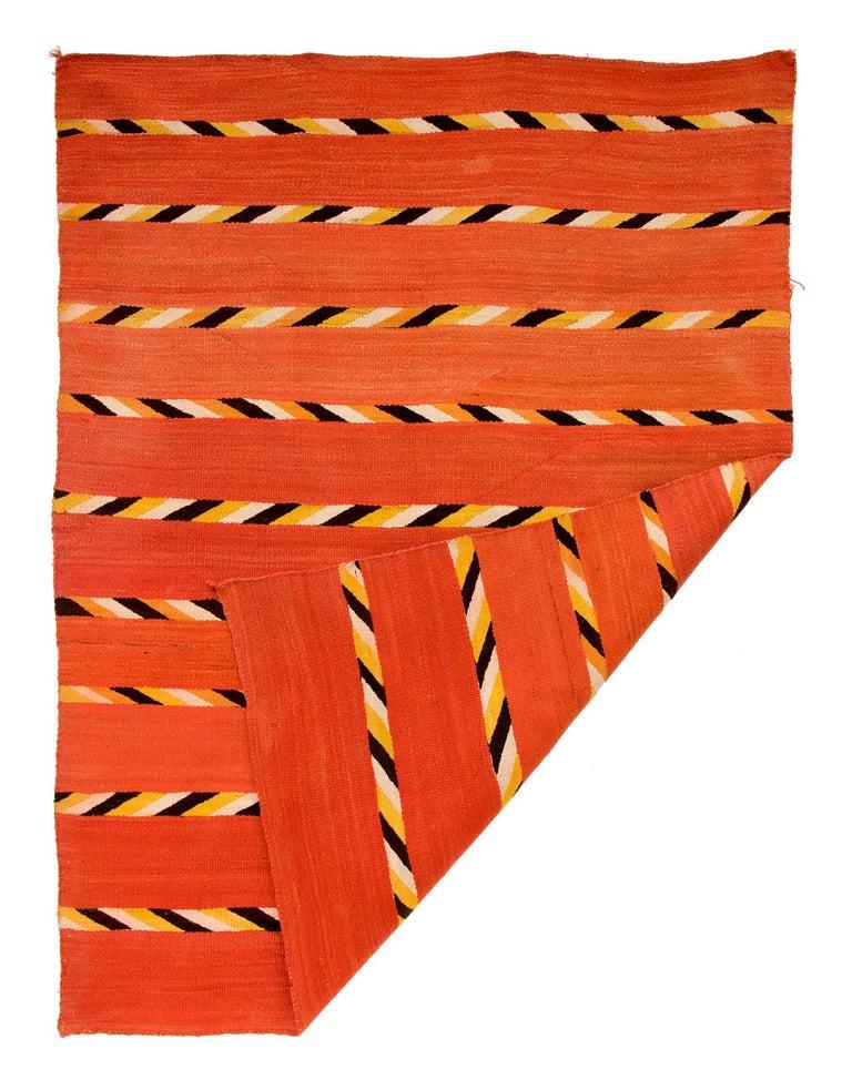 Native American Vintage Navajo Transitional Blanket, Circa 1880, 19th Century, Red Orange Black For Sale