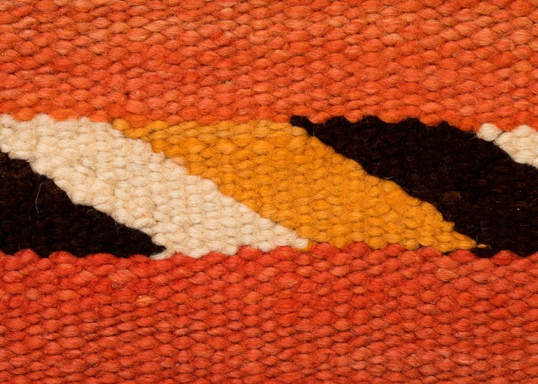 American Vintage Navajo Transitional Blanket, Circa 1880, 19th Century, Red Orange Black For Sale