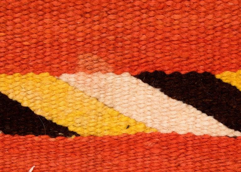 Wool Vintage Navajo Transitional Blanket, Circa 1880, 19th Century, Red Orange Black For Sale