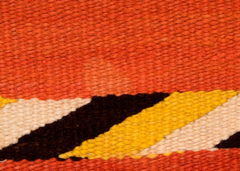 Vintage Navajo Transitional Blanket, Circa 1880, 19th Century, Red Orange Black For Sale 1