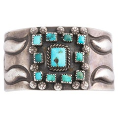 Vintage Navajo Turquoise and Silver Cuff, circa 1930-1940