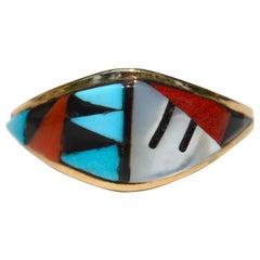 Vintage Navajo Turquoise Red Coral Inlay 14 Karat Gold Band Ring