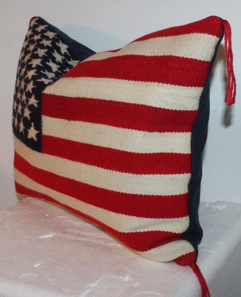 American Vintage Navajo Weaving Flag Pillow For Sale