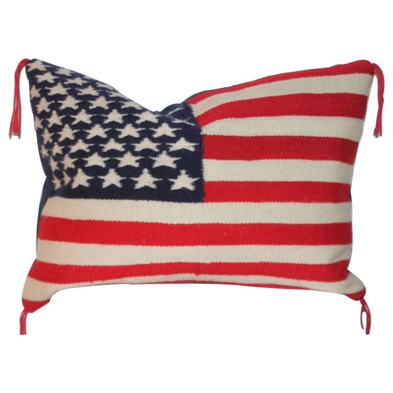 Vintage Navajo Weaving Flag Pillow For Sale