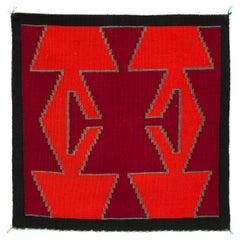 Vintage Navajo Weaving, Germantown Wool, circa 1900, Southwestern Art