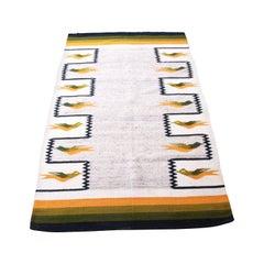Vintage Navajo Wool Rug or Wall Hanging with Geometric Bird Design