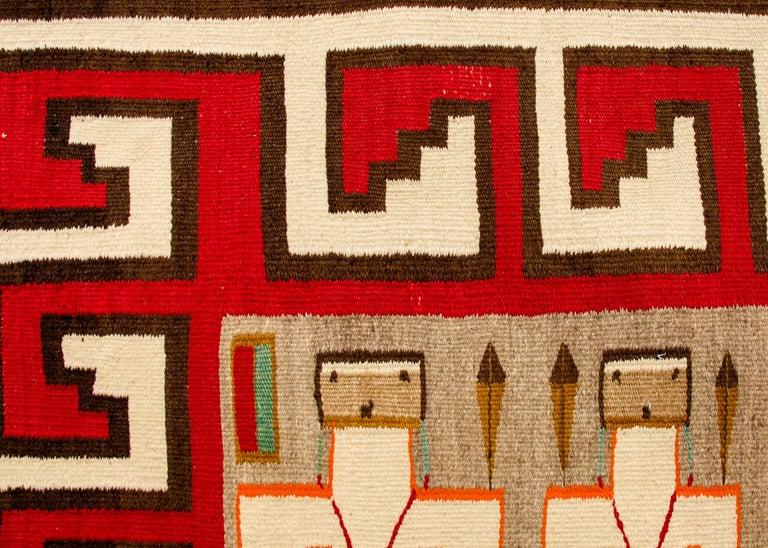 American Vintage Navajo Yei Rug 'Yeibichai Pictorial Weaving', circa 1930s For Sale