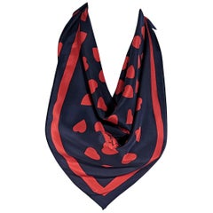 Yves Saint Laurent Navy And Red Silk Heart Printed Scarf