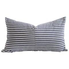 Vintage Navy Blue and White French Ticking Stripe Lumbar Pillow