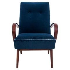 Vintage Navy Blue Armchair, Poland, 1960s